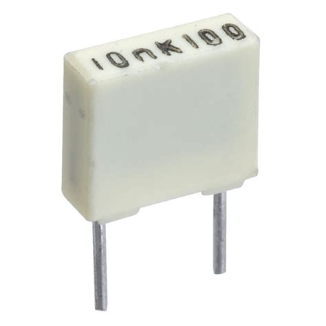 capacitor polyester 10nf kemet r82ec2100aa50k 10nf 10 100v 5mm polyester box capacitor rapid
