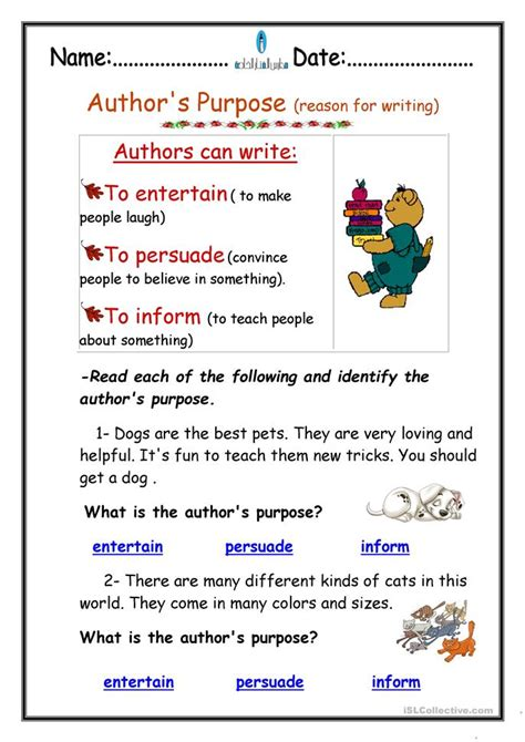 a s purpose free author s purpose worksheet free esl printable worksheets made by teachers