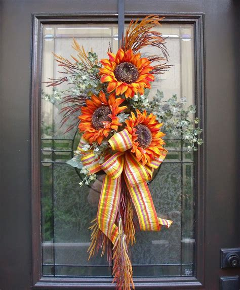 sunflower swag fall decorations wall floral arrangement - Fall Floral Decorations