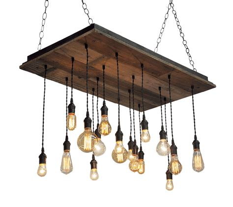 Hanging Bulb Chandelier Reclaimed Wood Chandelier Edison Bulb Pendants Bare Bulb