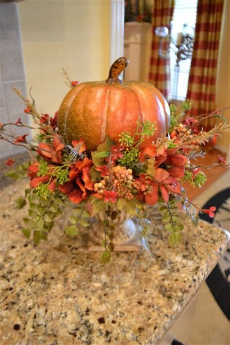 fall pumpkins and centerpieces on
