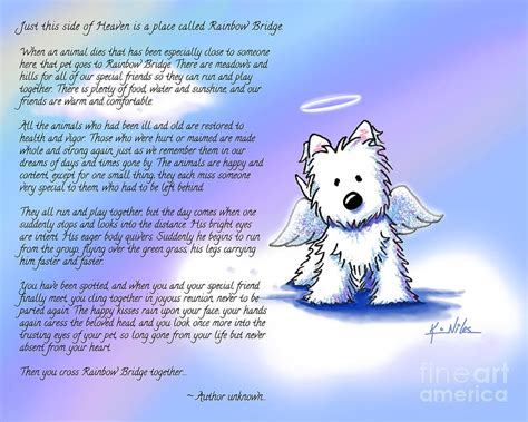 rainbow bridge poem rainbow bridge poem with westie digital by niles