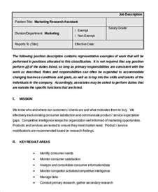 marketing assistant description 8 free word pdf documents free premium