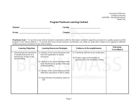 Creating A Nursing Practicum Learning Contract Nursing Contract Template