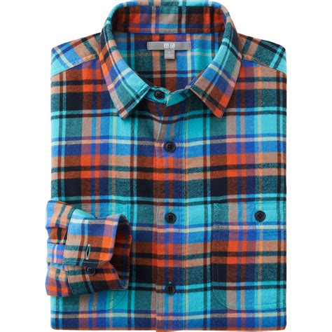 Uniqlo Flannel Shirt uniqlo flannel check sleeve shirt in blue for lyst