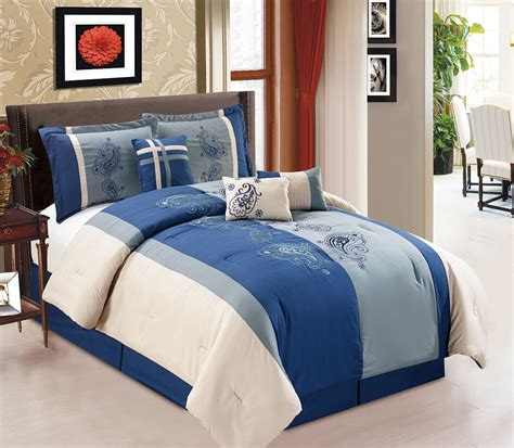 Navy Paisley Comforter Set Bedding 7 Paisley Embroidered Navy Charcoal Comforter Set