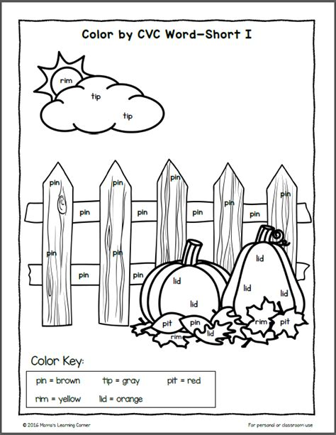 shop by color to find fall color by cvc word worksheets mamas learning corner