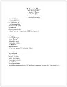 Reference Page Format Resume by Resume Reference Page Template With Exles Of For 17 Appealing Go