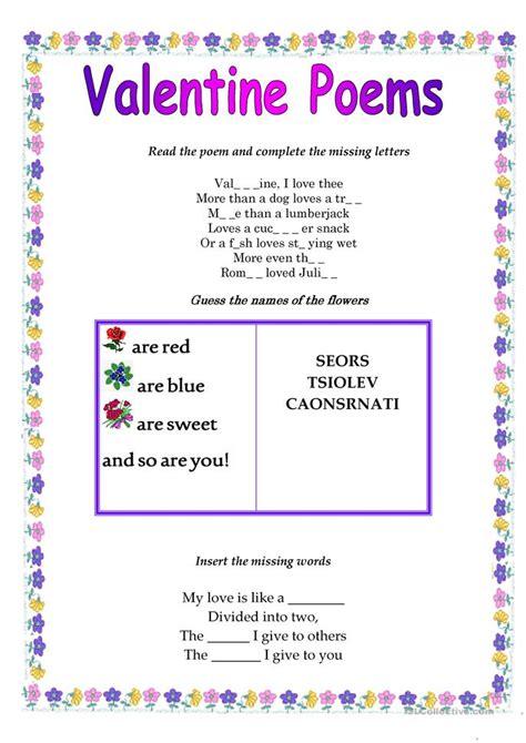 printable valentines poems poems worksheet free esl printable worksheets