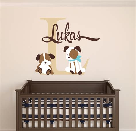 Custom Name Wall Decal Puppies Wall Decal Nursery Dog Wall Custom Wall Decals For Nursery