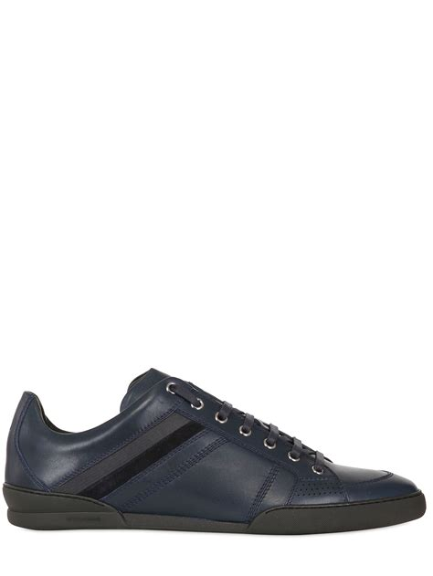 blue leather sneakers homme side striped leather sneakers in blue for