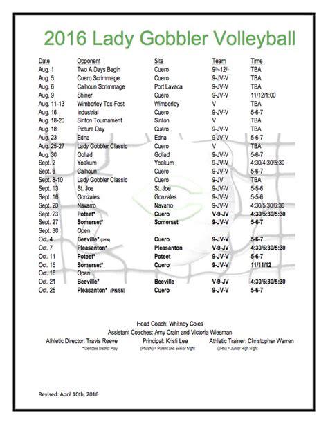 cuero basketball schedule 2016 lady gobbler volleyball schedule