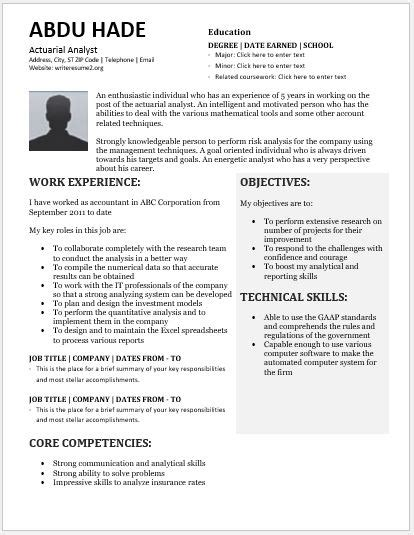 Actuary Resume by Actuarial Analyst Resume Contents Layouts Templates