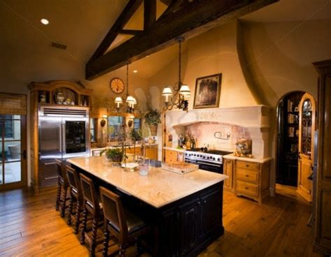 interior cool kitchen decoration with tuscan style