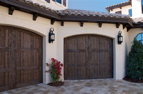 faux wood carriage house style garage doors add curb