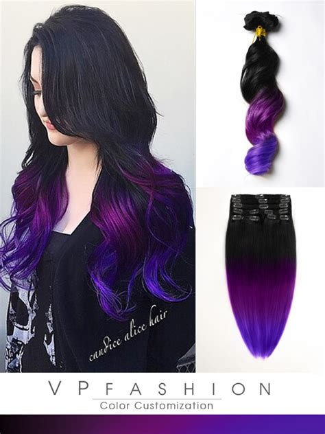 hair extensions purple black to purple mermaid colorful ombre indian remy clip in