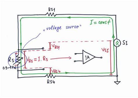 floating resistor building sensor bridge with current bias on the whiteboard