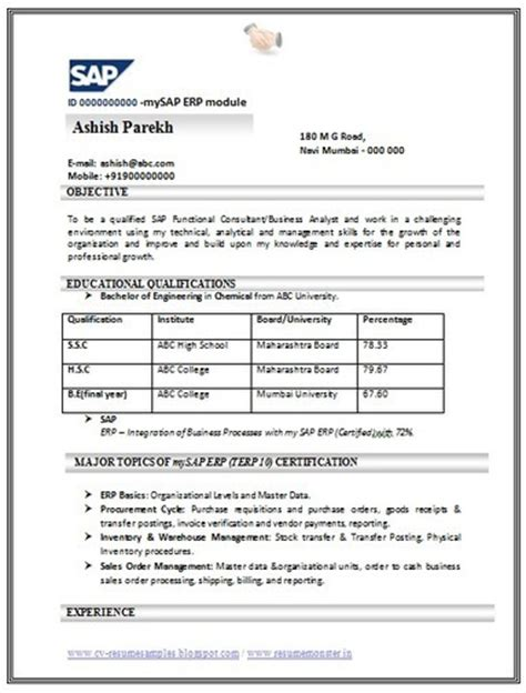 sap bi resume sle cover letter for sap consultant free link for