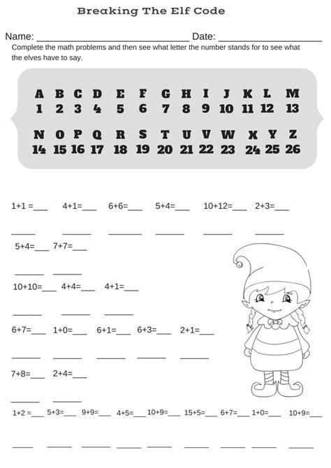 printable elf decoder addition christmas code breaker worksheet break the elf