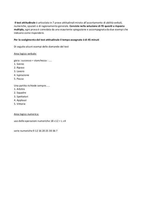 esempio di test attitudinale universit 224 europea di roma