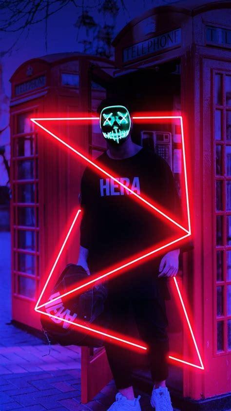 halloween led mask karya seni  ilustrasi poster seni