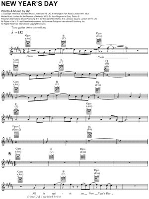 new years day chords new years day u2 chords
