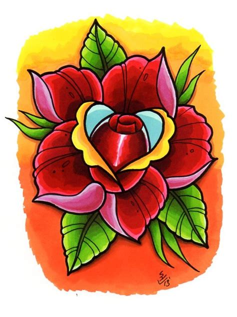 new skool rose tattoo new skool design by hamdoggz on deviantart