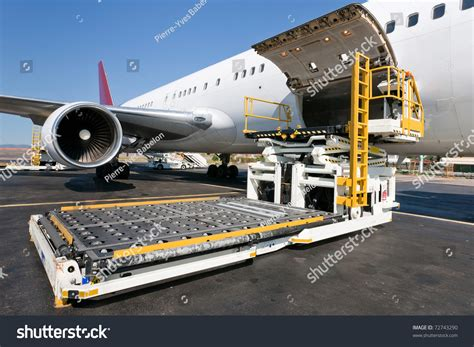 loading platform air freight aircraft stock photo 72743290