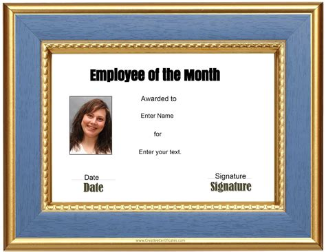 Employee Of The Month Certificate Template With Picture by Free Custom Employee Of The Month Certificate