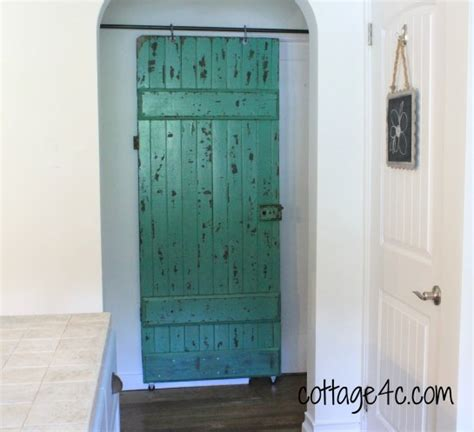 diy sliding bathroom door sliding old green door cottage4c