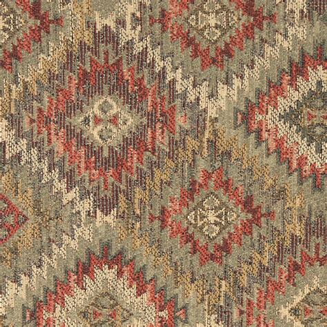 rustic upholstery fabric green gold and red diamond southwest style upholstery