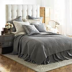 grey linen bedding lili alessandra emily quilted bedding collection