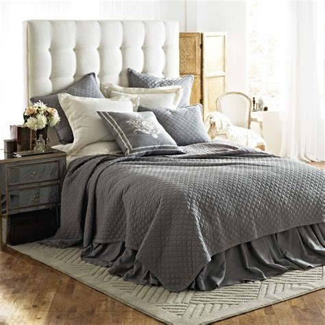 bedroom with gray bedding discontinued lili alessandra emily diamond quilted bedding collection in ash gray linen