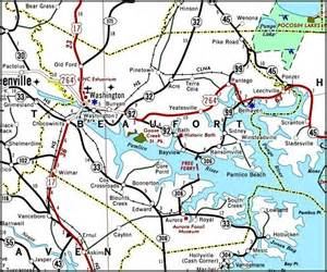 carolina county map with roads 2006 road map of beaufort co nc