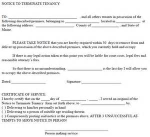 written notice to end tenancy template maine 30 day notice to terminate tenancy ez landlord