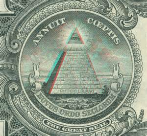 Detail of reverse of us one dollar bill 3ded by rev a slade