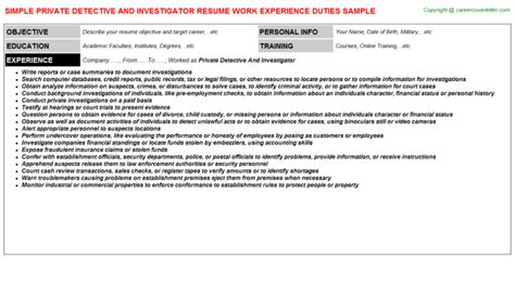 Eeoc Investigator Sle Resume by Eeoc Investigator Resumes Sles And Templates