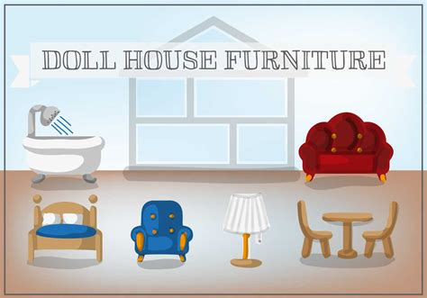 free doll house furniture vector free vector