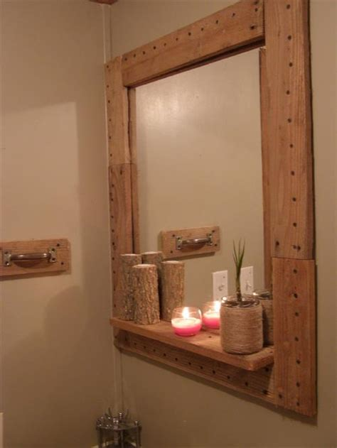 how to frame a bathroom mirror with wood amazing diy pallet mirror frame pallets designs