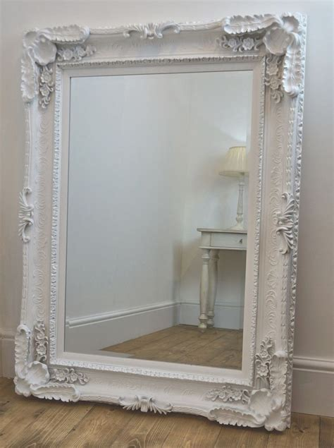 shabby chic mirror large beveled white ornate shabby chic wall mirror