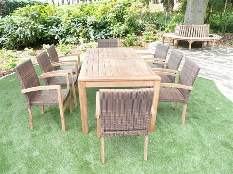 Teak Patio Furniture Sets Cannes 8 Seater Teak Rattan Patio Set Humber Imports