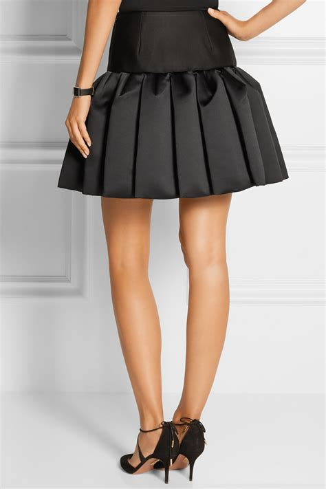 Ruffled Tweed A Line Miniskirt co pleated bonded satin and twill mini skirt in black lyst