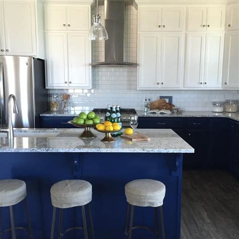 blue and white kitchen cabinets white upper cabinets blue lower cabinets transitional