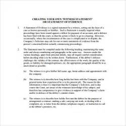 witness statement template 12 download free documents