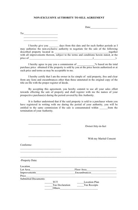 Agreement Letter For Selling A Property Non Exclusive Authority To Sell