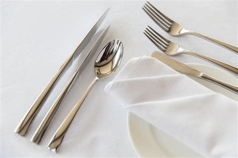 table cutlery set up up of cutlery set on table stock photo image 54400493