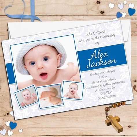 invitation card for baptism of baby boy template 10 personalised boys christening baptism photo invitations n97