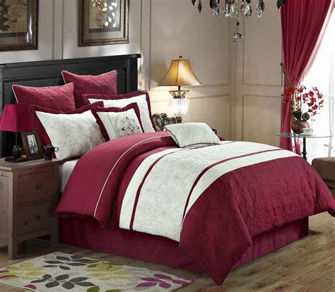 burgundy comforter sets 8 caesar burgundy white comforter set