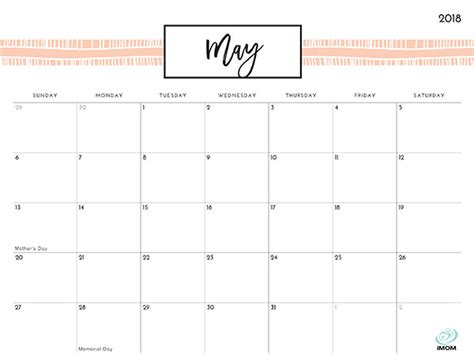 printable calendar imom pretty patterns 2018 printable calendar imom