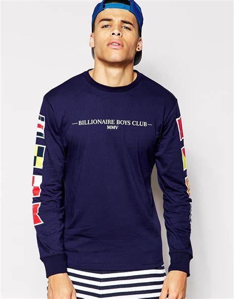 Tshirt Kaos Billionare Boys Club billionaire boys club sleeve t shirt with flags back print in blue for lyst